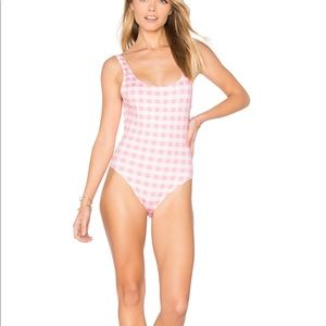 NWT Anne Marie Coral Gingham One Piece Swimsuit